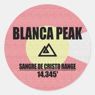 Pico del Blanca Pegatina Redonda