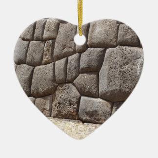 Pictograma de la serpiente de Saqsaywaman Adorno Navideño De Cerámica En Forma De Corazón