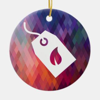 Pictograma ecológico de las cajas adorno navideño redondo de cerámica