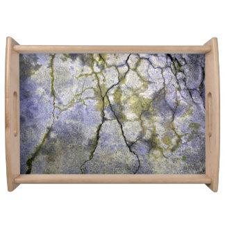 Piedra agrietada natural con textura del liquen bandejas