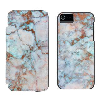 Piedra de mármol azul clara y gris de moda funda cartera para iPhone 5 watson