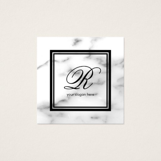 Piedra de mármol blanca de la plantilla elegante tarjeta de visita cuadrada
