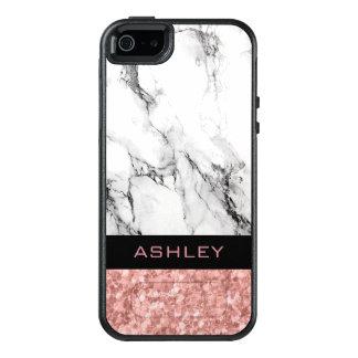 Piedra de mármol blanca de moda y brillo color de funda otterbox para iPhone 5/5s/SE