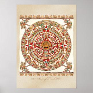 Piedra de Sun de Tenochtitlan Póster