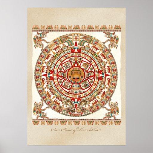 Piedra de Sun de Tenochtitlan Poster