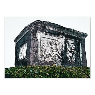Piedra gótica de la tumba de la querube invitación 12,7 x 17,8 cm