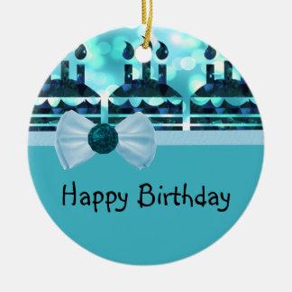 Piedra preciosa azul de la torta de cumpleaños de  ornamentos de reyes