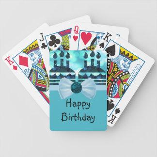 Piedra preciosa azul de la torta de cumpleaños de cartas de juego