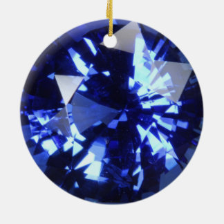 Piedra preciosa azul marino septiembre Birthstone Adorno De Cerámica