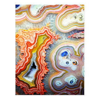 Piedra preciosa colorida llamativa de la ágata postal