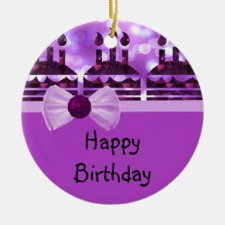 Piedra preciosa de la torta de cumpleaños de adorno redondo de cerámica