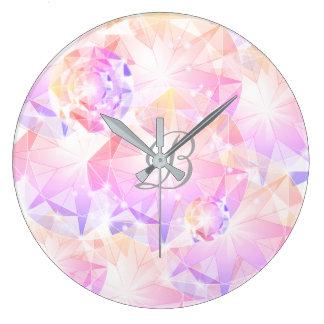 Piedra preciosa rosada Rhinest del compás de la Reloj Redondo Grande