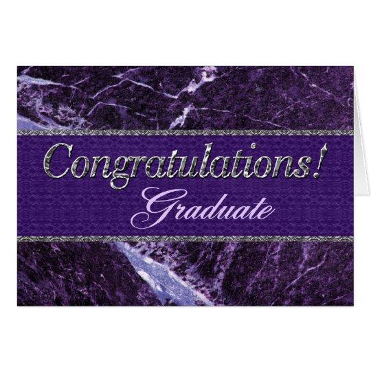 Piedra púrpura graduada de la enhorabuena tarjeta de felicitación