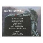 Piedra sepulcral gótica del ángel en el fiesta de invitación 10,8 x 13,9 cm