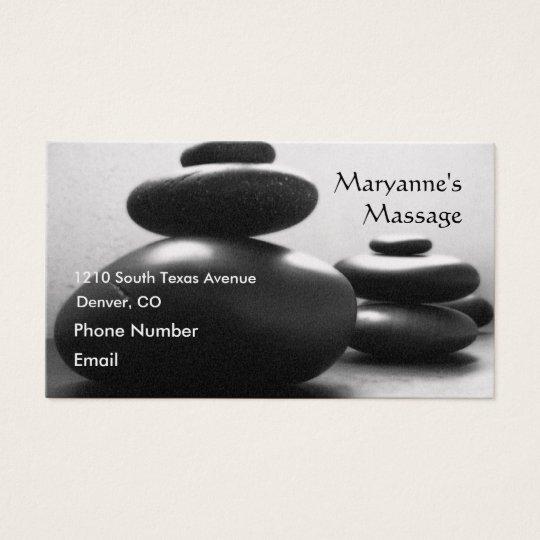 Piedras del masaje tarjeta de negocios