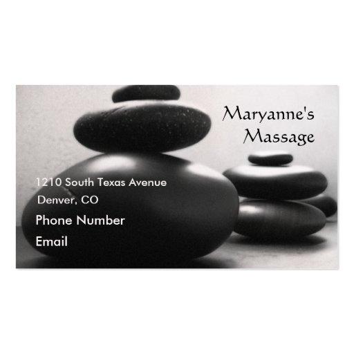 Piedras del masaje tarjetas de visita
