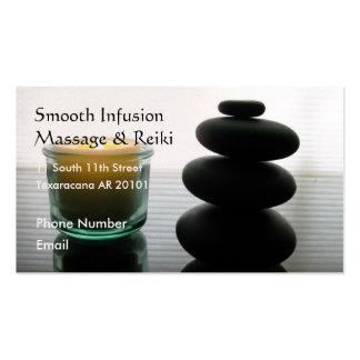 Piedras y vela del masaje tarjetas de negocios