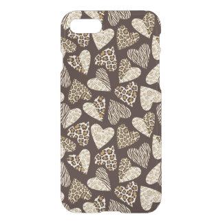 Piel animal con los corazones funda para iPhone 7