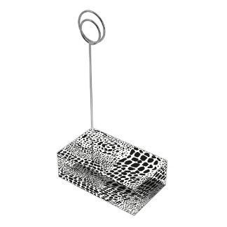 Piel animal en blanco y negro soporte de tarjeta de mesa