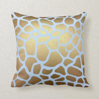 Piel azul de oro atractiva del safari de la jirafa cojín decorativo