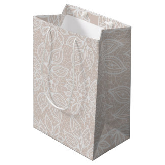 Piel de ante intemporal y blanco del boda de la bolsa de regalo mediana
