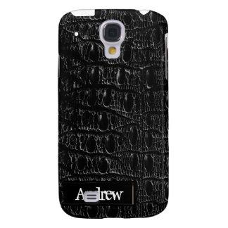Piel negra iPhone3G del cocodrilo Funda Para Galaxy S4