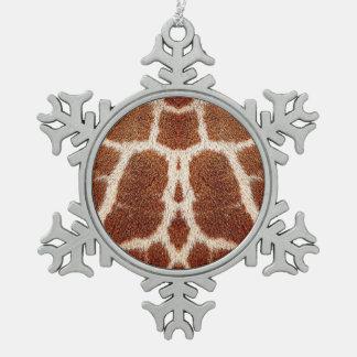 Piel original de la jirafa adorno de peltre en forma de copo de nieve