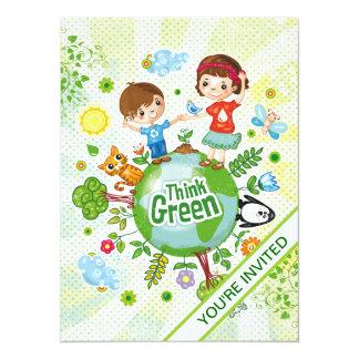 Piense a los niños verdes de Eco Invitación 13,9 X 19,0 Cm