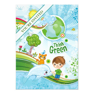 Piense a los niños verdes invitación 13,9 x 19,0 cm