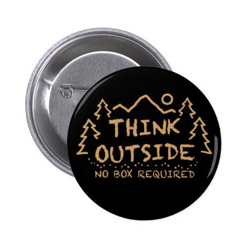 Piense afuera, ninguna caja requerida pins