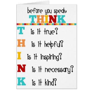 Piense antes de que usted hable tarjeta de felicitación