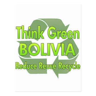 Piense Bolivia verde Postal
