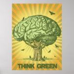 Piense el poster verde del árbol del cerebro