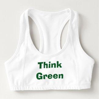 Piense el sujetador verde de los deportes