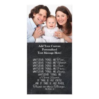 Piense en escritura cristiana de la biblia de tarjetas con fotos personalizadas