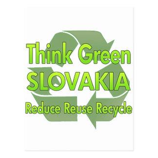 Piense Eslovaquia verde Postal