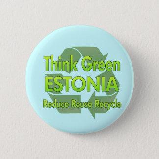 Piense Estonia verde Chapa Redonda De 5 Cm