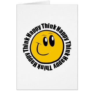 Piense feliz tarjeta de felicitación
