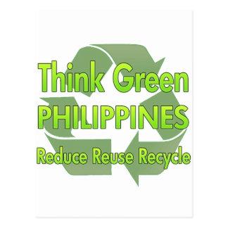 Piense Filipinas verdes Postal