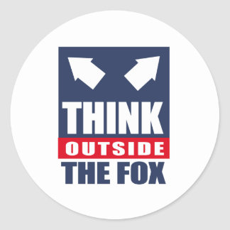 Piense fuera del zorro etiquetas redondas