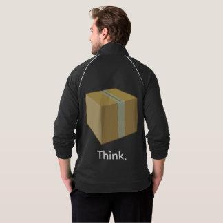 Piense fuera en de la chaqueta de la caja