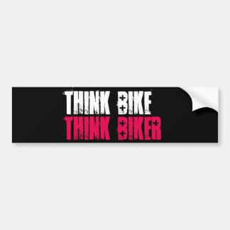 Piense la bici apilada pegatina para coche