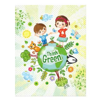Piense la cita feliz de la conciencia verde folleto 21,6 x 28 cm