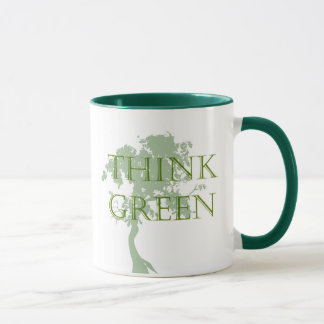 Piense la taza verde del árbol