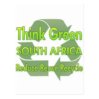 Piense Suráfrica verde Postal