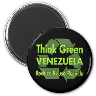 Piense Venezuela verde Imán Redondo 5 Cm