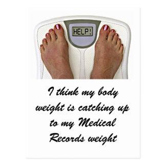 Pienso que mi peso corporal está alcanzando a mi… postal