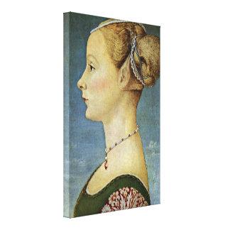 Piero del Pollaiolo - retrato de un chica Lienzo Envuelto Para Galerías