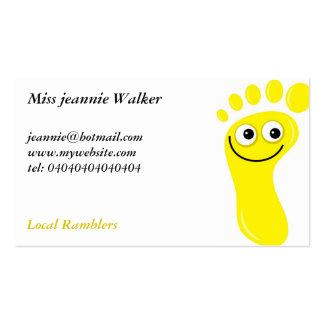 Pies amarillos felices plantilla de tarjeta de negocio