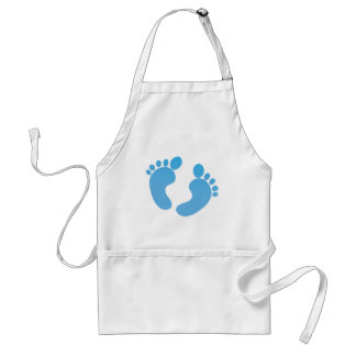 Pies lindos azules del bebé de maternidad delantal